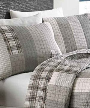 Eddie Bauer Fairview Collection 100 Cotton Reversible Light Weight Quilt Bedspread With Matching Shams 3 Piece Bedding Set Pre Washed For Extra Comfort FullQueen Grey 0 0 300x360