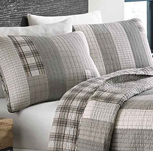 Eddie Bauer Fairview Collection 100 Cotton Reversible Light Weight Quilt Bedspread With Matching Shams 3 Piece Bedding Set Pre Washed For Extra Comfort FullQueen Grey 0 0