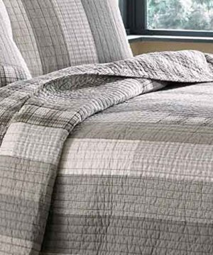Eddie Bauer Fairview Collection 100 Cotton Reversible Light Weight Quilt Bedspread With Matching Shams 3 Piece Bedding Set Pre Washed For Extra Comfort FullQueen Grey 0 4 300x360