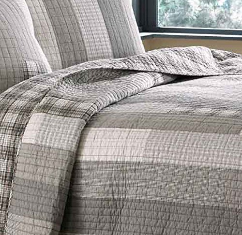 Eddie Bauer Fairview Collection 100 Cotton Reversible Light Weight Quilt Bedspread With Matching Shams 3 Piece Bedding Set Pre Washed For Extra Comfort FullQueen Grey 0 4