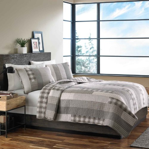 Eddie Bauer Fairview Collection 100 Cotton Reversible Light Weight Quilt Bedspread With Matching Shams 3 Piece Bedding Set Pre Washed For Extra Comfort FullQueen Grey 0