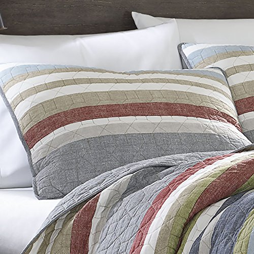 Eddie Bauer Salmon Ladder Collection 100 Cotton Reversible Light Weight Quilt Bedspread With Matching Sham 2 Piece Bedding Set Pre Washed For Extra Comfort Twin Natural 0 0