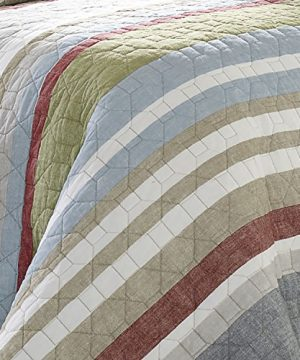 Eddie Bauer Salmon Ladder Collection 100 Cotton Reversible Light Weight Quilt Bedspread With Matching Sham 2 Piece Bedding Set Pre Washed For Extra Comfort Twin Natural 0 1 300x360