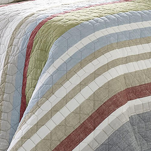 Eddie Bauer Salmon Ladder Collection 100 Cotton Reversible Light Weight Quilt Bedspread With Matching Sham 2 Piece Bedding Set Pre Washed For Extra Comfort Twin Natural 0 1