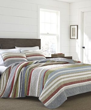 Eddie Bauer Salmon Ladder Collection 100 Cotton Reversible Light Weight Quilt Bedspread With Matching Sham 2 Piece Bedding Set Pre Washed For Extra Comfort Twin Natural 0 300x360