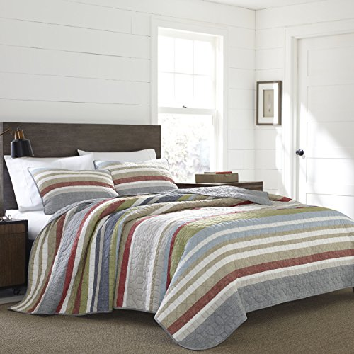 Eddie Bauer Salmon Ladder Collection 100 Cotton Reversible Light Weight Quilt Bedspread With Matching Sham 2 Piece Bedding Set Pre Washed For Extra Comfort Twin Natural 0