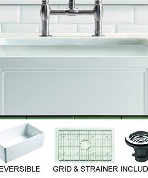 Empire Industries OL24G Olde London Reversible Farmhouse Fireclay Kitchen Sink With Grid And Strainer White 0 300x360
