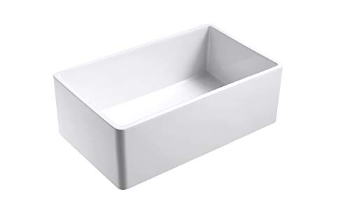 Empire Industries OL27G Olde London Reversible Farmhouse Fireclay Kitchen Sink With Grid And Strainer White 0 0