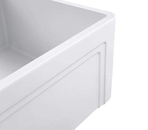 Empire Industries OL27G Olde London Reversible Farmhouse Fireclay Kitchen Sink With Grid And Strainer White 0 1