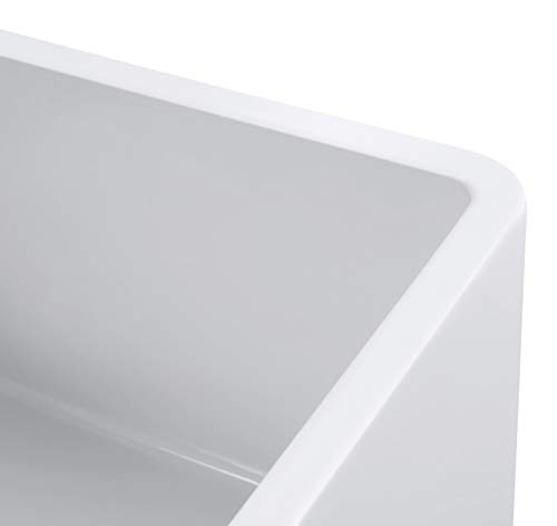 Empire Industries OL27G Olde London Reversible Farmhouse Fireclay Kitchen Sink With Grid And Strainer White 0 3