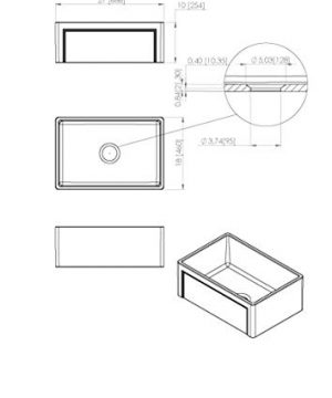 Empire Industries OL27G Olde London Reversible Farmhouse Fireclay Kitchen Sink With Grid And Strainer White 0 4 300x360