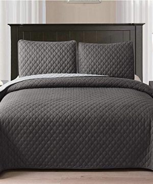 Exclusivo Mezcla Ultrasonic Reversible 3 Piece FullQueen Size Quilt Set With Pillow Shams Lightweight BedspreadCoverletBed Cover Grey 92x88 0 300x360