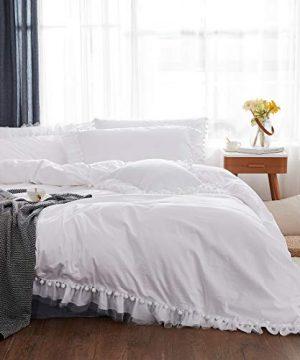 FADFAY Pom Pom Duvet Cover Set Premium 100 Cotton White Bedding Fringed Boho Ruffle Comforter Cover Elegant Chic Sheer Bedding 3 Piece 1 Hidden Zipper Duvet Cover 2 PillowcasesWhiteFull 0 300x360