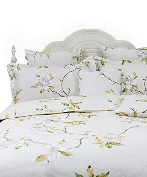 FADFAY White Floral Duvet Cover Set 100 Cotton Farmhouse Bedding With Hidden Zipper Closure 3 Pieces 1duvet Cover 2pillowcasesTwin Size 0 300x360