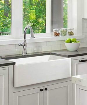 Fireclay Sink Single Bowl Farmhouse Apron Kitchen Sink Flat Or Fluted Reversible Installation Option White 30 Inch 0 300x360