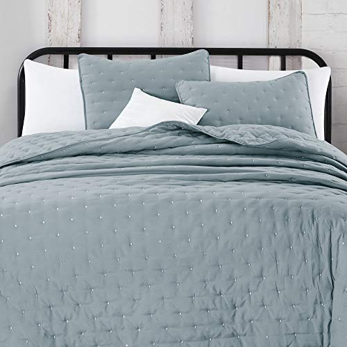 Great Bay Home 3 Piece Dot Stitch Quilt Set With Shams Stormy Sea Dot King Quilt Set All Season Bedspread Quilt Set Athena Collection King Stormy Sea 0 0