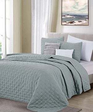 Great Bay Home 3 Piece Dot Stitch Quilt Set With Shams Stormy Sea Dot King Quilt Set All Season Bedspread Quilt Set Athena Collection King Stormy Sea 0 1 300x360