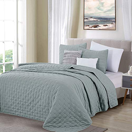Great Bay Home 3 Piece Dot Stitch Quilt Set With Shams Stormy Sea Dot King Quilt Set All Season Bedspread Quilt Set Athena Collection King Stormy Sea 0 1