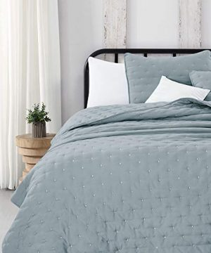 Great Bay Home 3 Piece Dot Stitch Quilt Set With Shams Stormy Sea Dot King Quilt Set All Season Bedspread Quilt Set Athena Collection King Stormy Sea 0 2 300x360