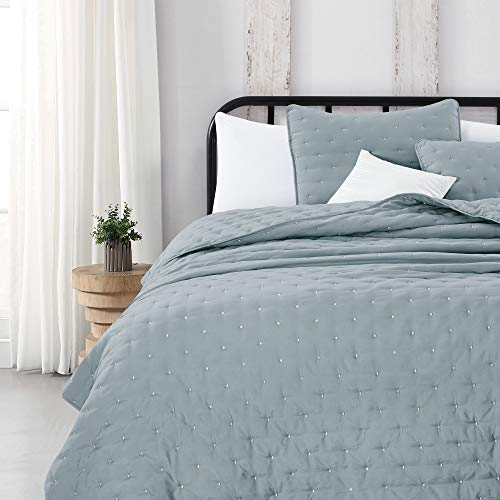 Great Bay Home 3 Piece Dot Stitch Quilt Set With Shams Stormy Sea Dot King Quilt Set All Season Bedspread Quilt Set Athena Collection King Stormy Sea 0 2