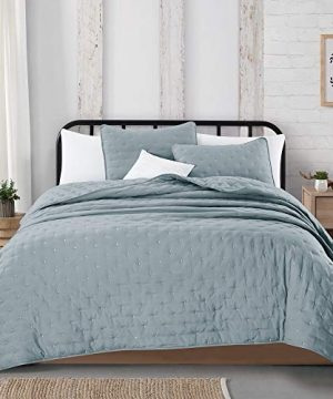 Great Bay Home 3 Piece Dot Stitch Quilt Set With Shams Stormy Sea Dot King Quilt Set All Season Bedspread Quilt Set Athena Collection King Stormy Sea 0 3 300x360