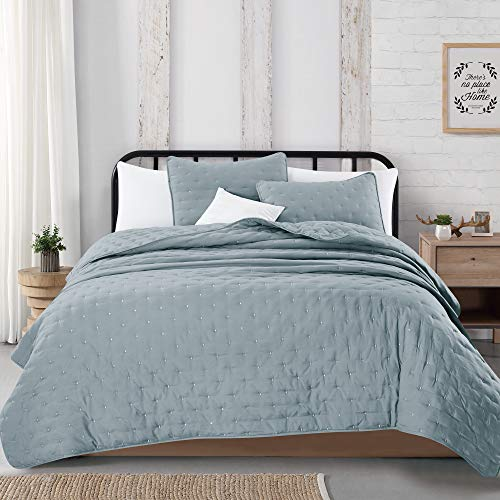 Great Bay Home 3 Piece Dot Stitch Quilt Set With Shams Stormy Sea Dot King Quilt Set All Season Bedspread Quilt Set Athena Collection King Stormy Sea 0 3