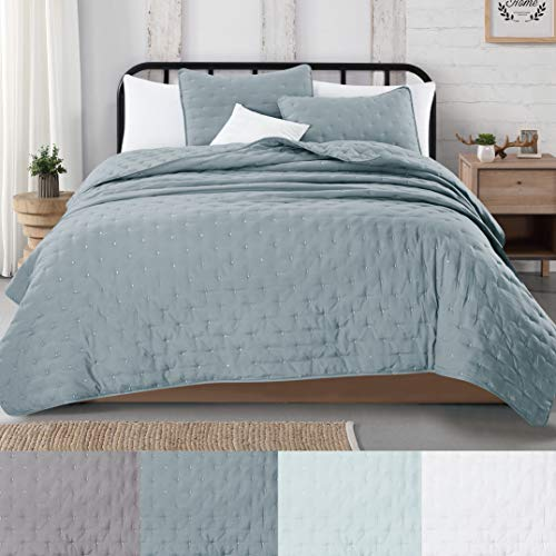 Great Bay Home 3 Piece Dot Stitch Quilt Set With Shams Stormy Sea Dot King Quilt Set All Season Bedspread Quilt Set Athena Collection King Stormy Sea 0