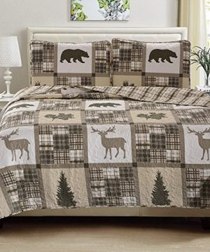 Great Bay Home Lodge Bedspread FullQueen Size Quilt With 2 Shams Cabin 3 Piece Reversible All Season Quilt Set Rustic Quilt Coverlet Bed Set Stonehurst Collection 0 300x360