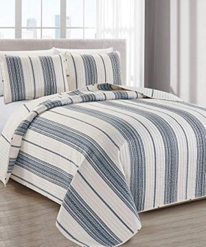 Great Bay Home Modern Bedspread Twin Size Quilt With 1 Sham Modern 2 Piece Reversible All Season Quilt Set Navy And White Quilt Coverlet Bed Set Wesley Collection 0 300x360