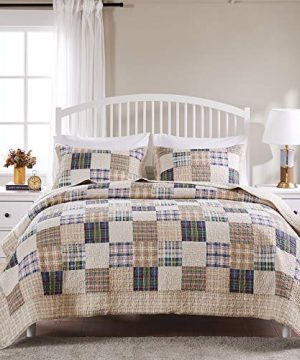 Greenland Home 3 Piece Oxford Quilt Set FullQueen Multicolor 0 0 300x360