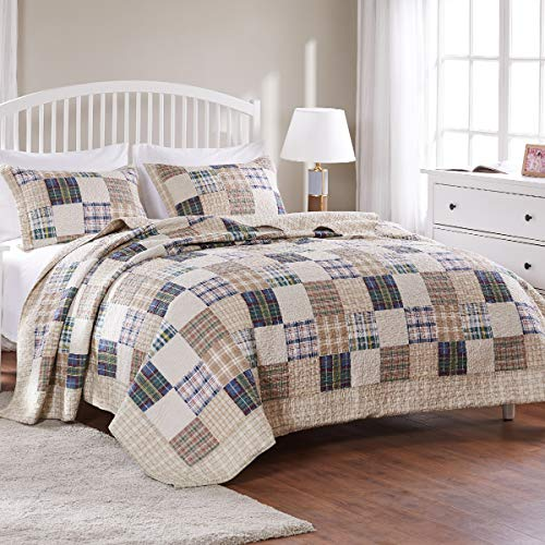 Greenland Home 3 Piece Oxford Quilt Set FullQueen Multicolor 0