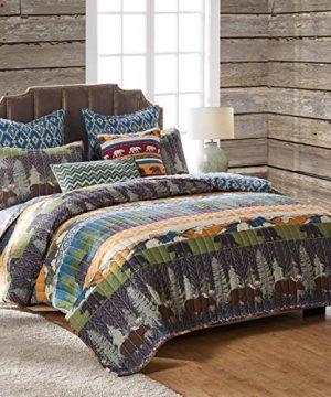 Greenland Home Black Bear Lodge Quilt Set 5 Piece FullQueen Multi 0 300x360