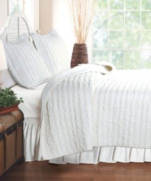 Greenland Home Ruffled Quilt Set Twin White 0 300x360