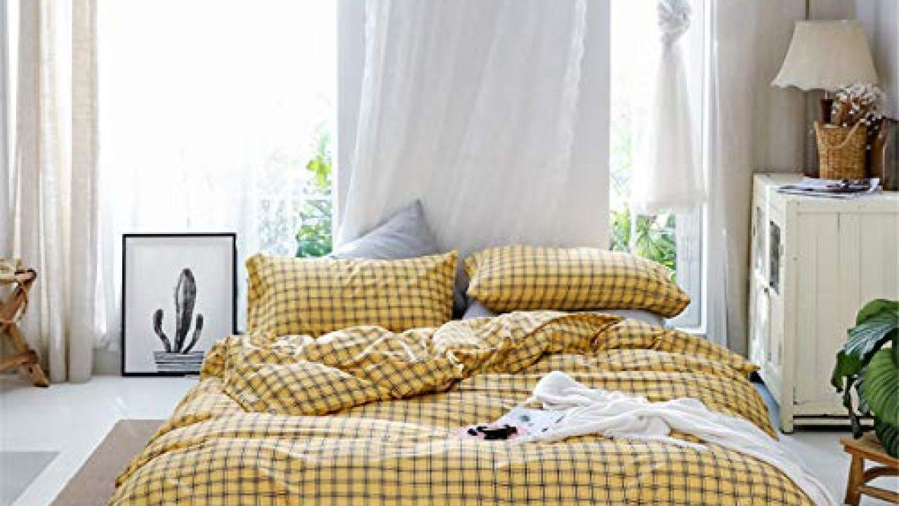 Farmhouse Yellow Grid Plaid Twin Size Duvet Cover Set Gingham Aesthetic Bedding Set 100 Cotton 1 Duvet Cover 1 Farmhouse Goals