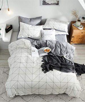 HMT NF Reversible 100 Soft Cotton Aesthetic White Grid Bedding Set Full Size Farmhouse Gingham Duvet Cover Set 1 Duvet Cover2 Pillowcases 0 300x360