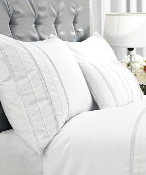 HORIMOTE HOME Duvet Cover Full White Luxury Embellished Trim Detailing100 Cotton Calssic Percale WovenSoft Crisp Breathable Durable Bed Cover 80 X 90 0 0 300x360