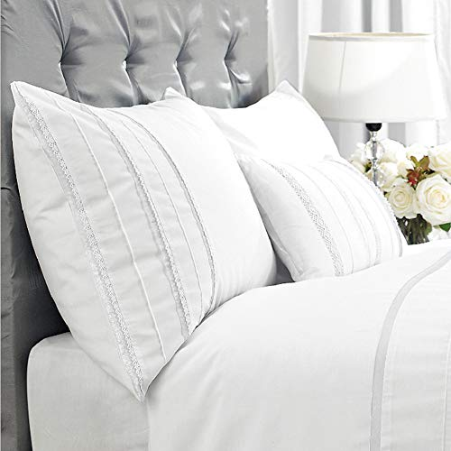 HORIMOTE HOME Duvet Cover Full White Luxury Embellished Trim Detailing100 Cotton Calssic Percale WovenSoft Crisp Breathable Durable Bed Cover 80 X 90 0 0