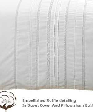 HORIMOTE HOME Duvet Cover Full White Luxury Embellished Trim Detailing100 Cotton Calssic Percale WovenSoft Crisp Breathable Durable Bed Cover 80 X 90 0 1 300x360