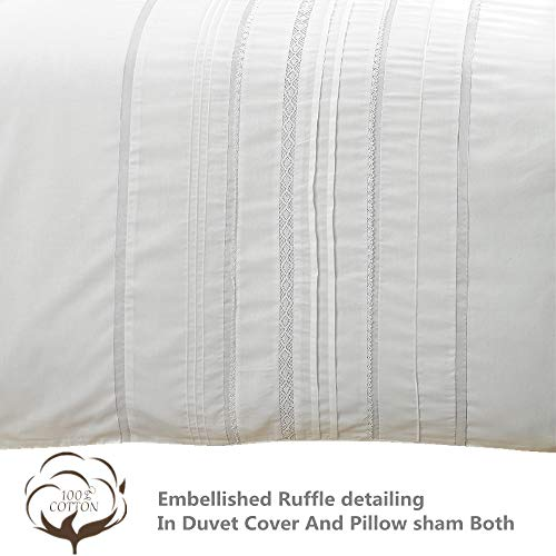 HORIMOTE HOME Duvet Cover Full White Luxury Embellished Trim Detailing100 Cotton Calssic Percale WovenSoft Crisp Breathable Durable Bed Cover 80 X 90 0 1