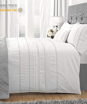 HORIMOTE HOME Duvet Cover Full White Luxury Embellished Trim Detailing100 Cotton Calssic Percale WovenSoft Crisp Breathable Durable Bed Cover 80 X 90 0 300x360