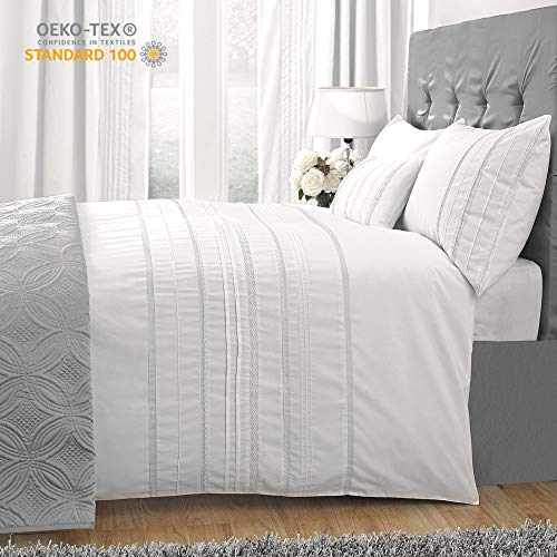 HORIMOTE HOME Duvet Cover Full White Luxury Embellished Trim Detailing100 Cotton Calssic Percale WovenSoft Crisp Breathable Durable Bed Cover 80 X 90 0