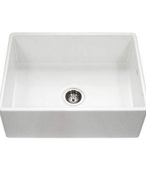 Houzer PTS 4100 WH Platus Series Apron Front Fireclay Single Bowl Kitchen Sink 30 White 0 300x360