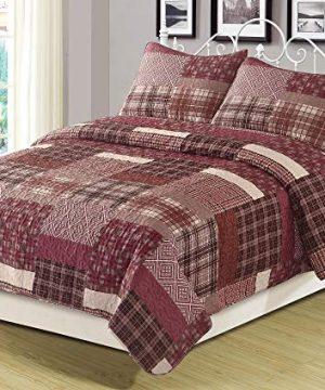 HowPlum FullQueen Quilt Red Plaid Patchwork Bedspread Bedding 3 Piece Set 0 300x360