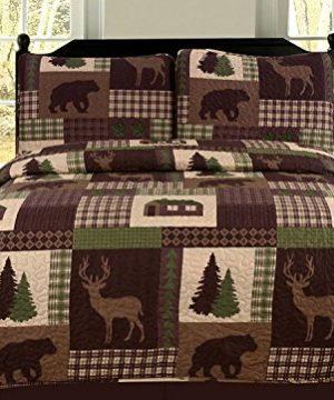 HowPlumb Twin Quilt 2 Piece Set Rustic Cabin Lodge Deer And Bear Coverlet Bedspread 0 300x360