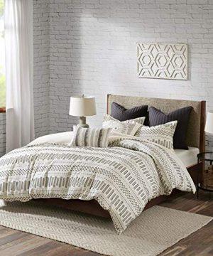INKIVY 100 Cotton Duvet Mid Century Modern Design All Season Comforter Cover Bedding Set Matching Shams FullQueen88x92 Rhea Ivory Geometric Clipped Jacquard 3 Piece 0 0 300x360