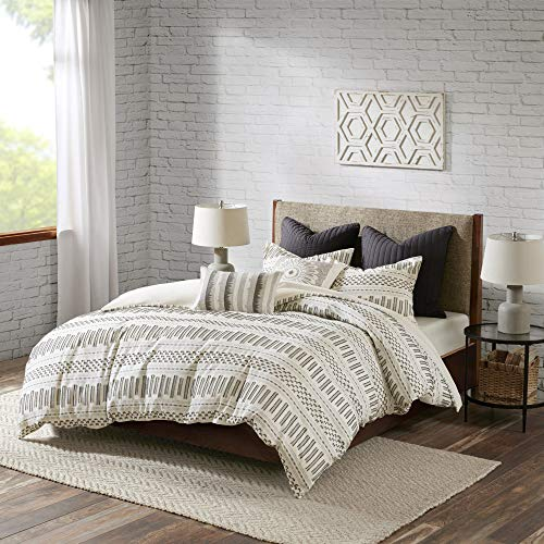 INKIVY 100 Cotton Duvet Mid Century Modern Design All Season Comforter Cover Bedding Set Matching Shams FullQueen88x92 Rhea Ivory Geometric Clipped Jacquard 3 Piece 0 0
