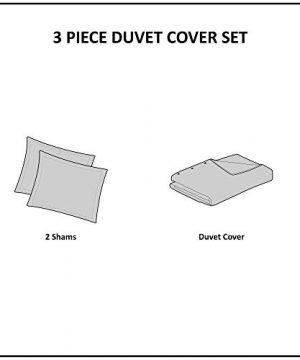 INKIVY 100 Cotton Duvet Mid Century Modern Design All Season Comforter Cover Bedding Set Matching Shams FullQueen88x92 Rhea Ivory Geometric Clipped Jacquard 3 Piece 0 2 300x360