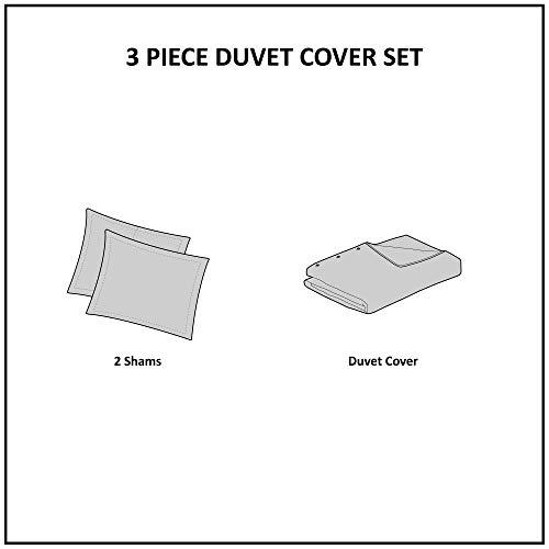 INKIVY 100 Cotton Duvet Mid Century Modern Design All Season Comforter Cover Bedding Set Matching Shams FullQueen88x92 Rhea Ivory Geometric Clipped Jacquard 3 Piece 0 2
