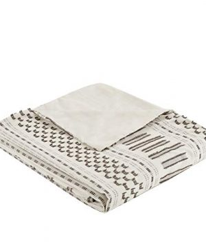INKIVY 100 Cotton Duvet Mid Century Modern Design All Season Comforter Cover Bedding Set Matching Shams FullQueen88x92 Rhea Ivory Geometric Clipped Jacquard 3 Piece 0 3 300x360