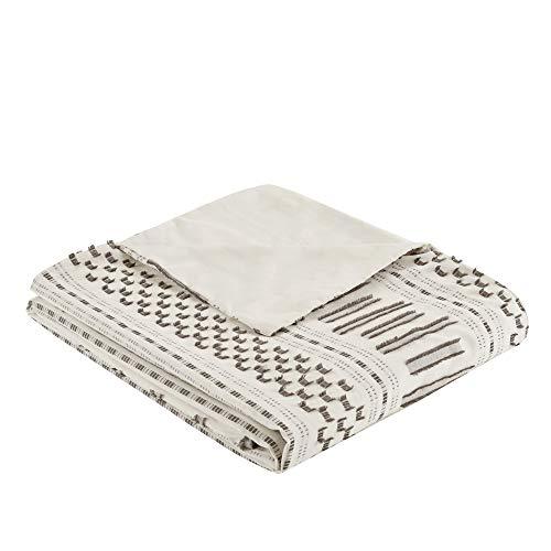 INKIVY 100 Cotton Duvet Mid Century Modern Design All Season Comforter Cover Bedding Set Matching Shams FullQueen88x92 Rhea Ivory Geometric Clipped Jacquard 3 Piece 0 3